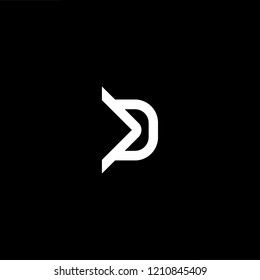 letter D DD minimalist art monogram arrow shape logo, white color on black background