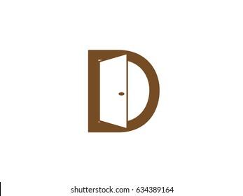 Letter D with Door logo design