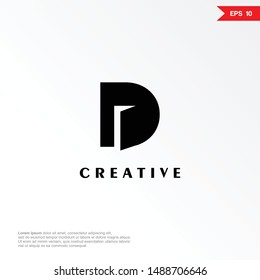 Letter D with door negative space logo design template. Universal vector icon. Modern logotype symbol