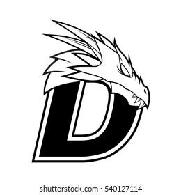 Letter D + Dragon Logo Vector