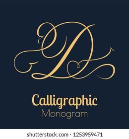 Letter D - elegant copperplate monogram design
