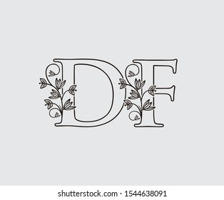 Letter D, F and DF Vintage Floral Logo Icon, overlapping monogram logo, Simple Swirl Black color Logo on white background. Classy Letter Logo Icon.