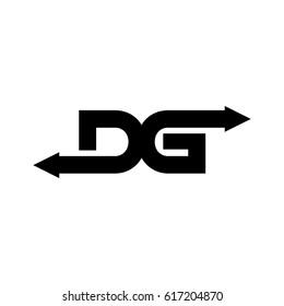letter d and g arrow logo vector