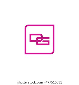 The letter D and G Monogram With Frame Square. Logo Design Template Pink