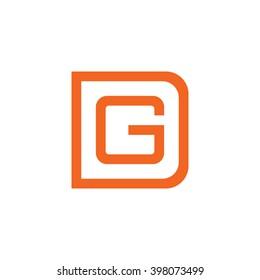 letter D and G monogram square shape logo orange