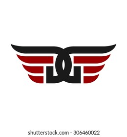 letter D. letter G. wing logo. freedom symbol. fly icon.