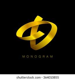 Letter D golden monogram.