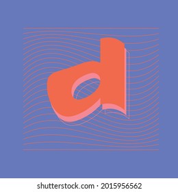 Letter D graphic design. Capital Letter for Monograms and Logos. Beautiful Filigree Font. trending abstract text style vector.