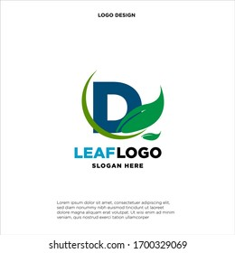 Letter D Green Leaf Logo Design Element, Letter D leaf initial logo template