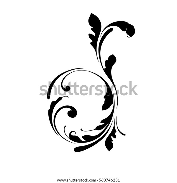 Letter D Hand Drawing Flowers Lines Stock Vector (Royalty