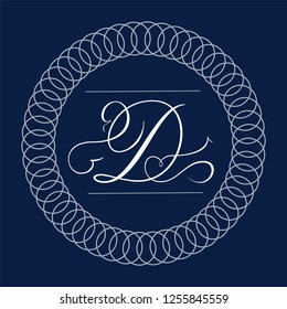 Letter D - hand lettering design in copperplate style