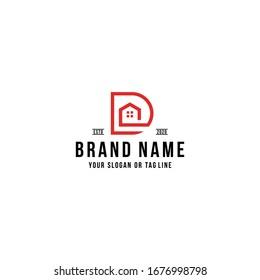 letter D home logo design vector template