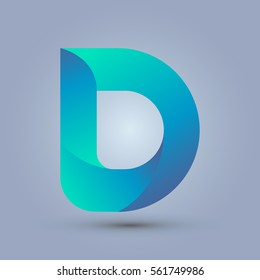 Letter D icon and logo template.  New design and elegant typographic concept. twisted, blue and green.