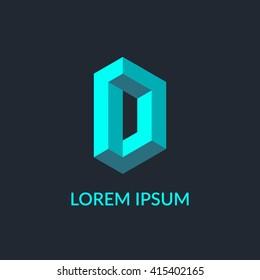 """Letter """"D"""" isometric logo design."""