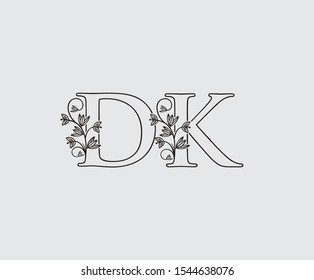 Letter D, K and DK Vintage Floral Logo Icon, overlapping monogram logo, Simple Swirl Black color Logo on white background. Classy Letter Logo Icon.