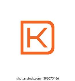letter D and K monogram square shape logo orange