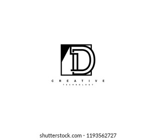 Letter D Linear Stripe Illusion Monogram Isolated Square Shape Logo