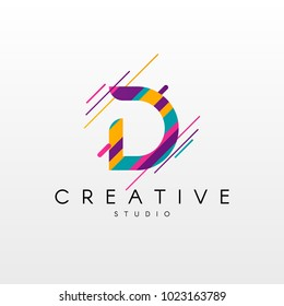 Letter D Logo. Abstract D letter design, made of various geometric shapes in color.