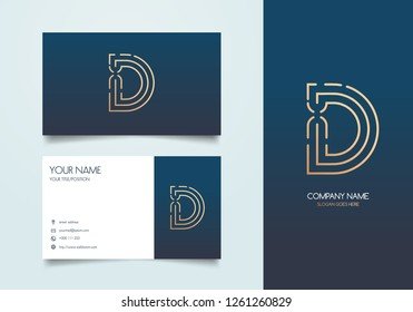 Letter D Logo with Business Card