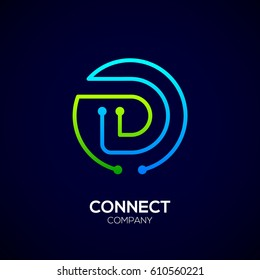 Letter D logo, Circle shape symbol, green and blue color, Technology and digital abstract dot connection
