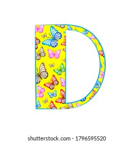 Letter D Logo  Design made from icon butterfly