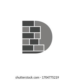 Letter D logo design shape brickwork template vector