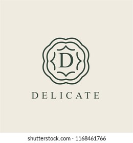 letter D logo design template. Alphabet label sign. Linear lettering calligraphy emblem with ornamental frame. Luxury linear creative monogram. vector illustration