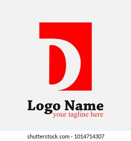 Letter D Logo. D Letter Design Vector Template with red rectangle.