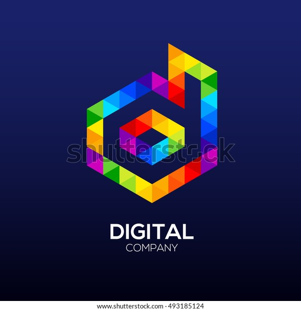 Letter d Logo Design.Hexagon logo,Polygon logo,Digital,Media
