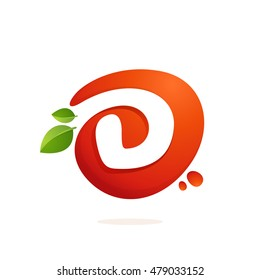 Letter D logo in fresh juice splash with green leaves. Vector elements for natural application, ecology presentation, business card or cafe posters.