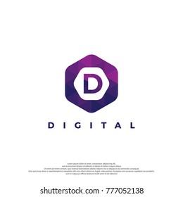Letter D Logo Illustration Template. With Hexagonal shape. Polygonal style.