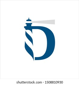 Letter D Logo. Ligh House Symbol. Icon Vector Eps 10.
