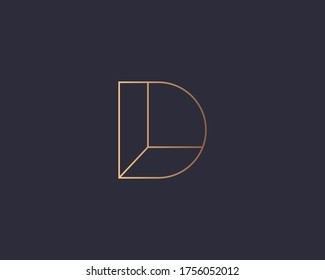 Letter D logo monogram, minimal style identity initial logo mark. Golden gradient parallel lines vector emblem logotype for business cards initials invitations ect.