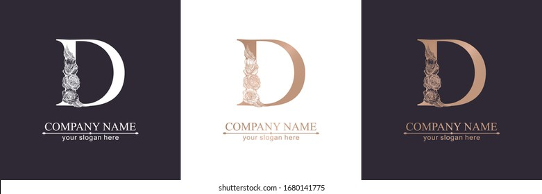 Letter D logo or monogram. For your business. Vector sign. Floral style, beautiful roses. Personal logo.