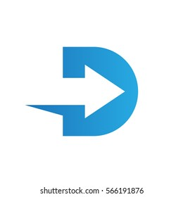 Letter D logo with negative space arrow logo for transportation, delivery company etc.