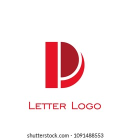 letter D logo, letter PD logo vector graphic design with red color, isolated on white background.