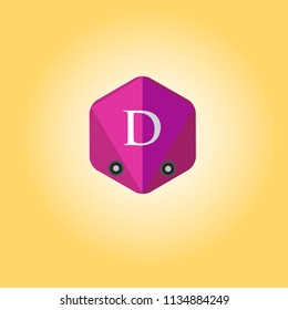 Letter D logo with polygon background