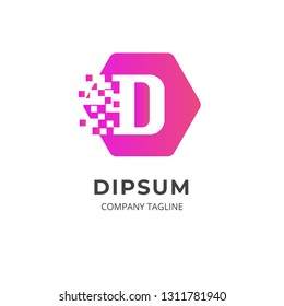 Letter D logo template. Creative logo on hexagonal shape with soft gradient color. Pixel dot design style. Can be use as symbol and icon for your business identity.