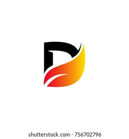 Letter D logo template. letter D with leaf icon on white background
