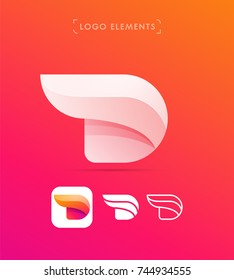 Letter D logo template. Vector abstract origami style. Application icon