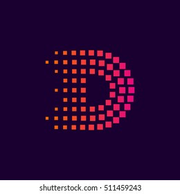 Letter D logo.Dots logo colorful,pixel shape logotype vector design