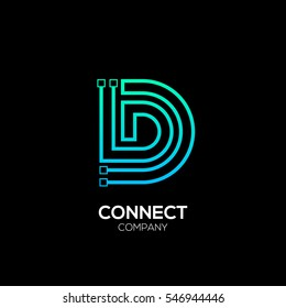Letter D logotype blue and green color,Technology and digital abstract dot connection vector logo