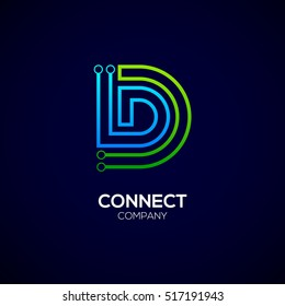 Letter D logotype green and blue color,Technology and digital abstract dot connection vector logo