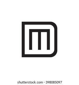 letter D and M monogram square shape logo black