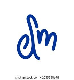 letter D and M vector logo. finger symbol.