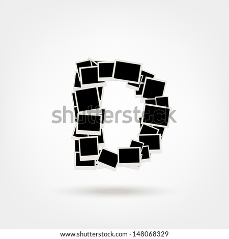Letter D Made Photo Frames Insert Stock Vector (Royalty Free ...
