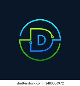 Letter D mono line logo with element chip, Connect concept , Circle shape symbol, green and blue color, Technology and digital abstract dot connection - vector
