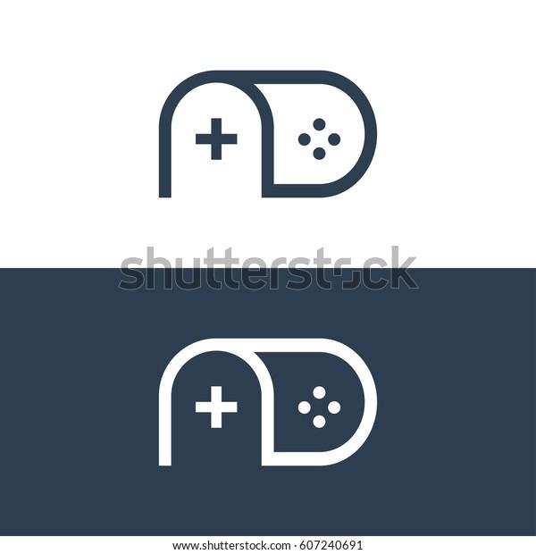 Letter D Monogram Gaming Logo Concept Stock Vektorgrafik