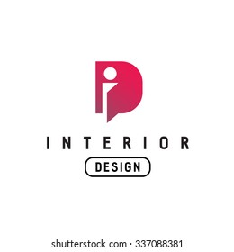 Letter I and D monogram logo. Interior design abbreviation ligature sign. Open door concept.