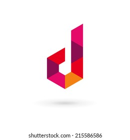 Letter D mosaic logo icon design template elements. Vector color sign.
